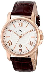 Lucien Piccard Men's LP-12358-RG-02S Cilindro White Textured Dial Brown Leather Watch