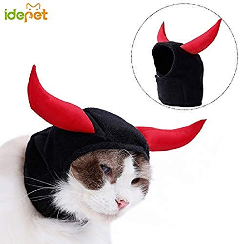 Idepet Pet Cat Costume Devil Horns Hat Dress Up For Halloween Christmas Events Soft Comfortable Regulable For Cat Small Dog ()