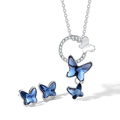 T400 Blue Butterfly Crystal Jewelry Set Pendant Necklace and Stud Earrings ♥ Birthday Gift for Girls Women ()