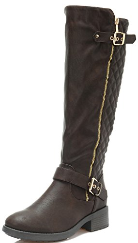 Dream Pairs Women's UTAH Brown Low Stacked Heel Knee High Riding Boots Size 6.5 M US Image