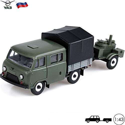 (1:43 Scale Model Crewcab Pickup Truck UAZ 39094 with Army Field Kitchen Russian Soviet Toy Cars)