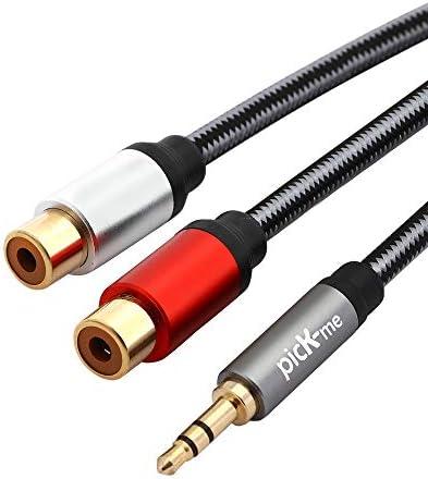 picK-me TRS 3.5MMオス-2 RCAメス、Yスプリッターステレオオーディオケーブル、金メッキコネクタ(30CM)