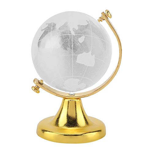 Wifehelper Crystal Globe, Crystal Ball Glass Sphere Display Globe, Round Earth Globe World Map Crystal Glass Ball Sphere Home Office Decor Gift Globe Paperweight(01)
