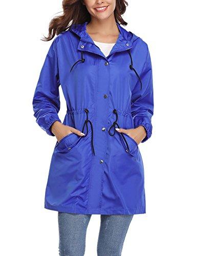 - Abollria Womens Outdoor Waterproof Lightweight Windbreaker Raincoat Hooded Rain Jacket Dark Blue