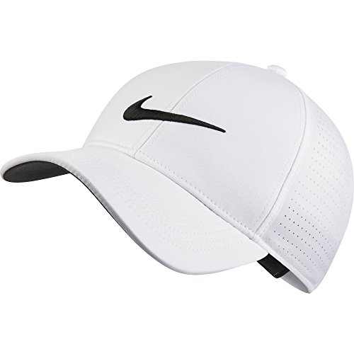 - NIKE Unisex AeroBill Legacy 91 Perforated Golf Cap, White/Anthracite/Black, One Size
