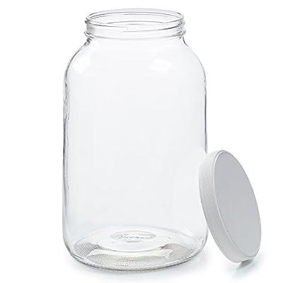 Empty 1 Gallon Glass Jar w/ Airtight Leakproof Plastic Lid - Wide Mouth Easy to Clean - BPA Free & Dishwasher Safe - USDA Certified - Kombucha Tea, Kefir, Canning, Sun Tea, Fermentation, Food Storage
