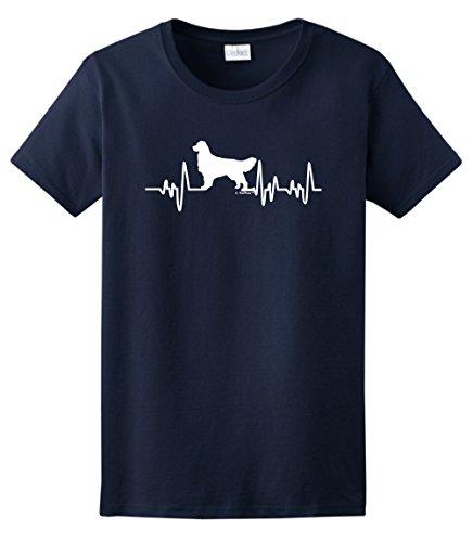 Golden Retriever Rescue Mom Dad Golden Retriever Gifts Dog Lover Heartbeat Ladies T-Shirt 3XL Navy ()