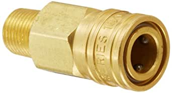 "Eaton Hansen 180 Brass Miniature Ball Lock Pneumatic Fitting, Socket with Valve, 1/8""-27 NPTF Male, 1/8"" Port Size, 1/8"" Body"