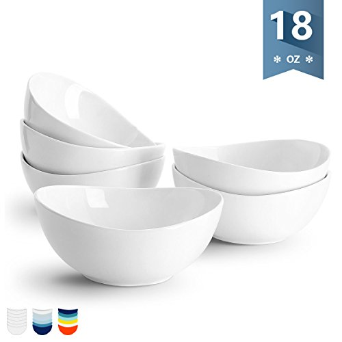Sweese 1101 Porcelain Bowls - 18 Ounce for Cereal, Salad, Dessert - Set of 6, - Bowl White Oval