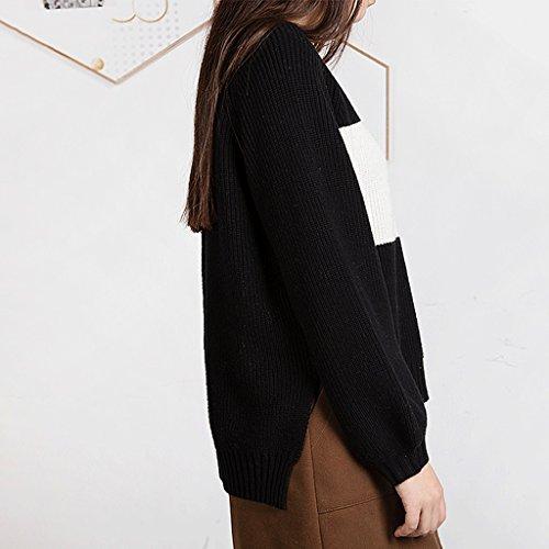 Suéter de rayas de invierno blusa de mujer sencilla (Color : Negro , Tamaño : One size) : Amazon.es: Hogar