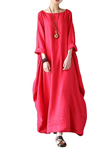 (Celmia Women's 3/4 Sleeve Round Neck Solid Loose Long Maxi Dress Cotton Gown with Side Pockets Red 3XL)