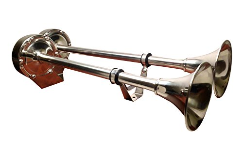 - Pactrade Marine Boat Stainless Steel Dual Trumpet Horn 12V Heavy Duty