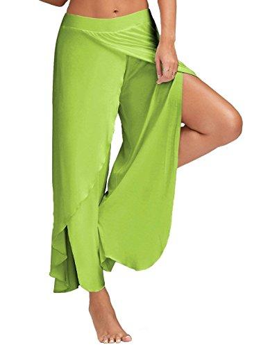 Taille Palazzo Ouvert Couleur Jambe Hellgrün Élégant Mode Femme Plus Pantalon D'été Cadeaux Airy Adelina La Elastische Confortable Large Solide Yoga Wv7qIHvnd