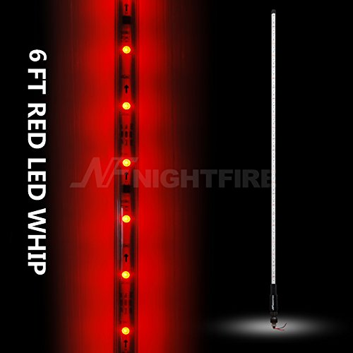 Night Fire Red LED Whips 6FT Flag Pole For RZR UTV Sand Dune Buggy Quad Truck Offroad Racing Motorcycle ATV Antenna Whip (One Whip)