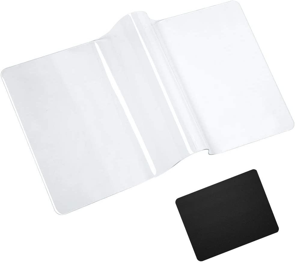 Clear Desk Pad Mat Protector Office Home, Non-Slip PVC Desk Cover Table Cover Mat with Round Edges, with PU Black Mouse Pad