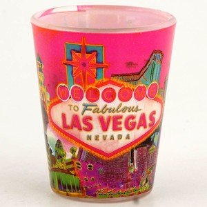 Las Vegas Shot Glass Welcome to Las Vegas Solar Pink (4) Pack 37010