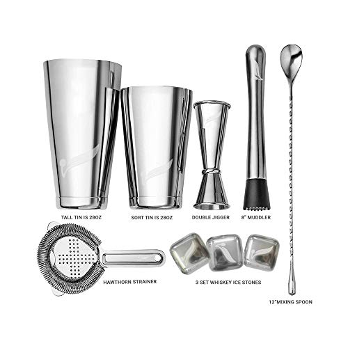Cocktail Shaker Set By Olivers Twiste, 9 Piece Home Bar Accessories- Includes Hawthorn Strainer, Muddler, Jigger, Bar Spoon, 2 Boston Tins, 3 Whiskey Ice Stones In Stainless Steel