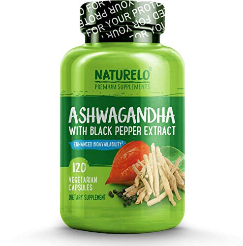 NATURELO Organic Ashwagandha - Best Natural Supplement for Anxiety & Stress Relief, Mood Enhancer, Tyroid Support, Anti Depression - Root Powder Herbs with Black Pepper Extract - 120 Vegan Capsules