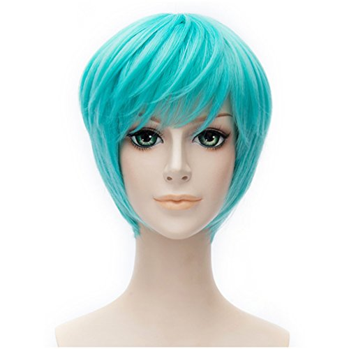 [Flovex Short Straight Anime Cosplay Wigs Natural Sexy Costume Party Daily Hair (Blue Green)] (Short Green Wig)