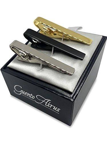 Guento Airus 3pc Mens Tie Bar Clip for Regular Necktie, Gold Silver Black with Luxury Gift Box Set