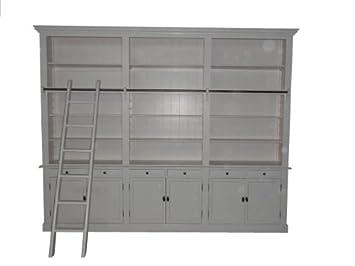 Bücherregal weiß antik  Bücherregal im Landhausstil (B 300 x T 36 x H 240) mit Leiter (H ...