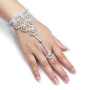 YUXI Silver Wedding Bride Hand Harness Latin Dancer Austria Crystal Bangle Finger Ring Free Size (Style 1)