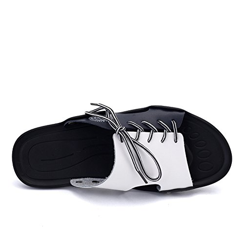 Abrasion Size Sole Soft Black up Resistant Casual 8MUS Slippers PU White amp;Baby Sunny Sandals Non Beach Lace Slip Men's Color Blue White Leather Shoes ZWfR4w