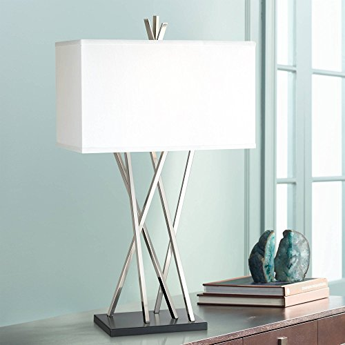 Modern Table Lamp Brushed Steel Asymmetry White Linen Rectangular Box Shade for Living Room Family Bedroom Bedside - Possini Euro ()