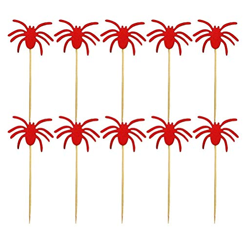 10pcs Halloween Cake Toppers Spider Cupcake Picks Muffin Cake Picks Halloween Party Cupcake Decorations - Red -