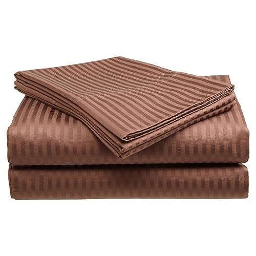 Queen Size Coffee 300 Thread Count 100% Cotton Sateen Dobby Stripe Sheet Set