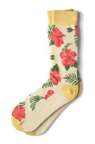 Men's Tropical Island Hibiscus Floral Flowers Crew Dress Socks (Ivory Cream)