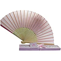 Folding Hand Held Fans, Inkach Bridal Chinese Bamboo Silk Hand Fan Wedding Favors Guests Gifts (Pink)