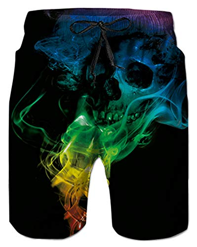 Alistyle Mens 3D Skull Printed Swim Trunk Summer Casual Beach Swimming Vacation Surfing -