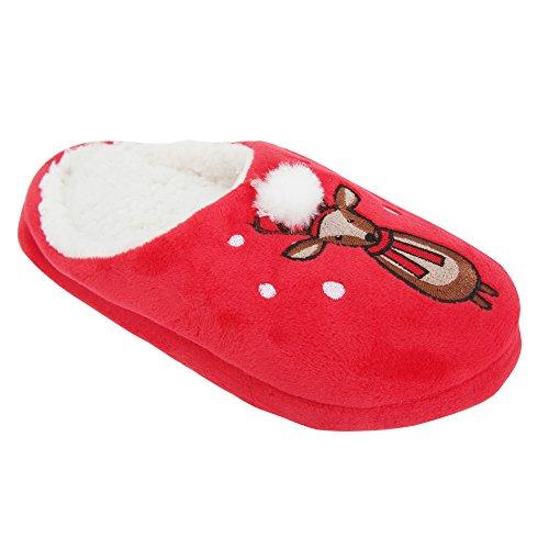 Zapatillas de estar por casa abiertas con diseño animal y navideño para mujer Rojo