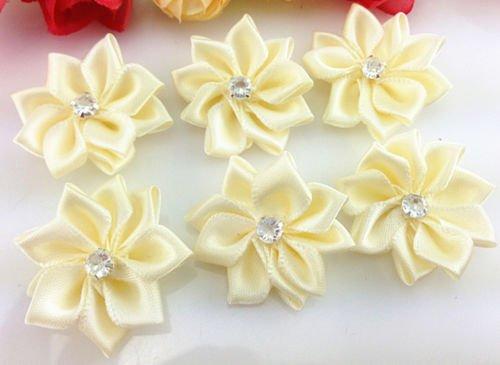 DIY 50 PCS Satin Ribbon Flower with Crystal Bead Appliques~Craft/Trim (beige) - St Rock Sandal