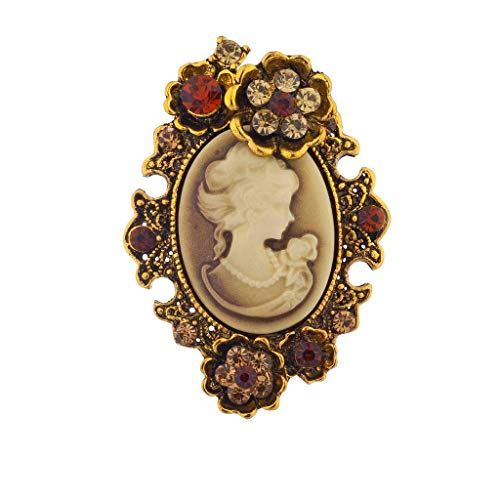 Lux Accessories Gold Antique Brown Cameo Pin Burnished Flower Stones Brooch