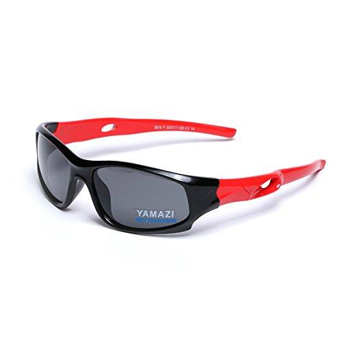 YAMAZI Children Sports Polarized Sunglasses For Kids Boys Girls Rubber Flexible Frame Sunglasses UV Protection (Black/Red, - Sunglasses Childrens Around Wrap