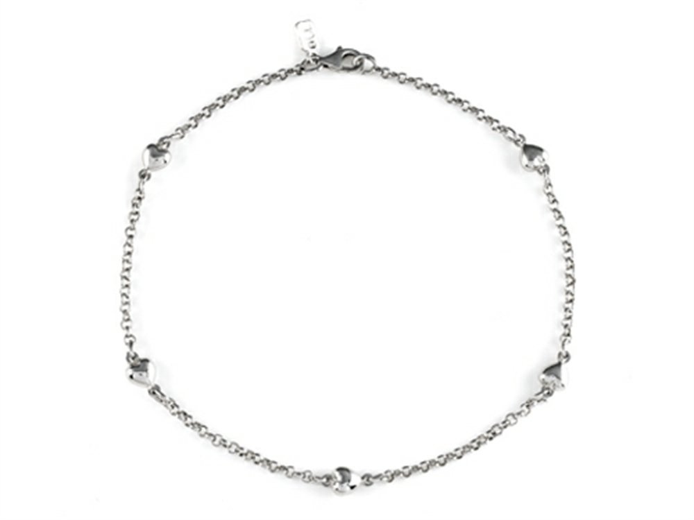 Finejewelers Sterling Silver 10 Inches 5 Hearts Ankle Bracelet