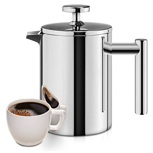 XI-HOME French Press, 18/10 Stainless Steel Double Wall Insulated Coffee Maker, 12 Ounce