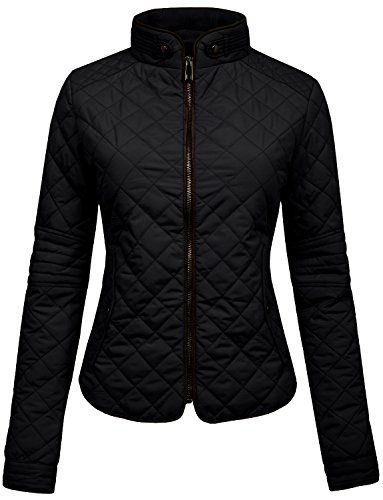 NE PEOPLE Womens Lightweight Quilted Zip Jacket, Medium, NEWJ22BLACK