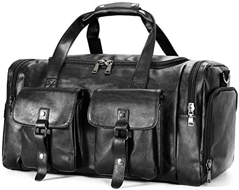 Zeroway Travel Duffel Bag with Shoe Pouch, PU leather Carry on Bag Weekender Overnight Bag for Men Women Black