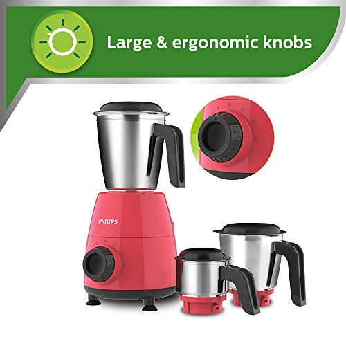 Philips HL7505/02 500-Watt Mixer Grinder with 3 Jars (Red)- Dry jar, Chutney and Wet jar
