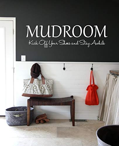CELYCASY Mudroom Kick Off Your Shoes and Stay Awhile, Mud Room Wall Decal Vinyl Lettering, Mudroom Wall Art Decor