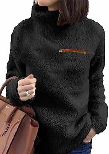 Kikibell Sherpa Jacket Women Casual Pullover Soft Fuzzy Fleece Sweatshirt Shearling Casual Loose Coat