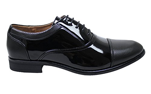 Cerimonia Man's Uomo Scarpe Eleganti Nero Class Linea Classica Vernice Shoes wzFOxpBYFq