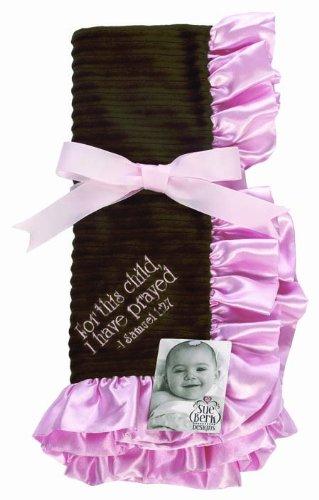 Sue Berk Designs For This Child, I Have Prayed Baby Blanket, Pink/Brown