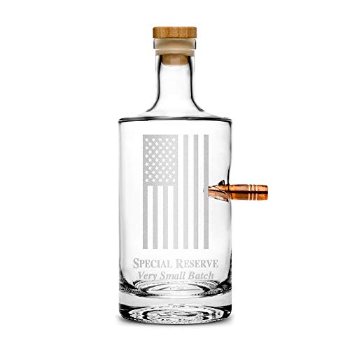 Bottle Etched - Premium .50 Cal BMG Bullet Bottle, American Flag, Hand Etched 750mL Round Jersey Decanter, Cork Top, Made in USA, Drinking Gifts, Etched with Honor by Integrity Bottles