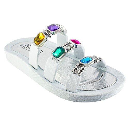 1 Sandalo Per Diapositiva Con Perline Michaela Bianco Misura 6