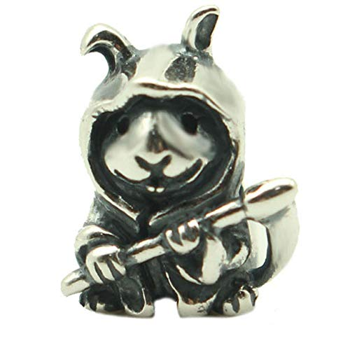 Calvas 925 Sterling Silver Bunny Reaper Hug Me 1:1 Beads for Jewelry Making Animal Charms Fits Original Troll OHM Bracelet & Necklace - (Color: Bunny Reaper)