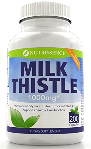 Nutrissence Milk Thistle 1000mg Equivalent – 200 Capsules – 250mg of Quadruple Strength, 4X Concentrated Standardized Silymarin Extract